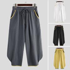 Mens Cotton Linen Casual Harem Japanese Trousers Loose Baggy Hakama Pants Slacks