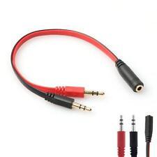 3.5mm AUX Audio Mic Splitterkabel Kopfhörer Headphone Adapter 1 Female To 2 Male