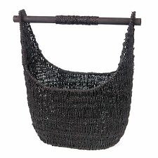 Black Seagrass Tote w/ Removable Wood Handle – Decorative Basket