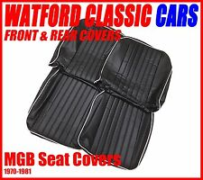 MGB Roadster and GT Pair of Seat Covers 1970 -1981 Leather look Black/White