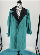 EUC London Fog teal and black rain trench coat Double Breasted, Tie. Size 8