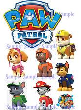 PAW Patrol Logo Chase Marshall Rubble Rocky Zuma Skye Birthday Icing Cake Topper