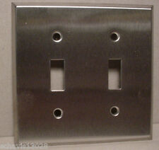 Retro 1960s 2 Toggle Switch Plate Cover Brushed Chrome Metal Electric Supplies