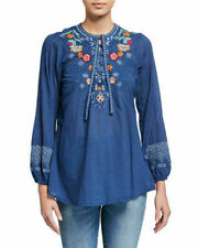 Johnny was Chelsee cotton Blouse Embroidered Blue Small