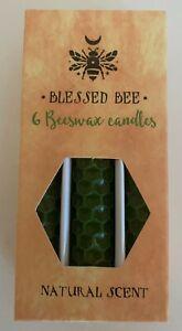 Pack 6 Beeswax Pillar Candles - Green