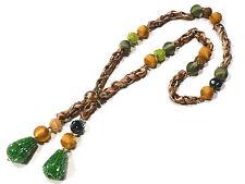 Bijou tissu et perles collier sautoir necklace