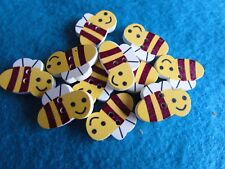 21mm x 14mm Wooden Bumble Bee Buttons 2 Hole Sew On in Pack Sizes of 2, 5 or 10