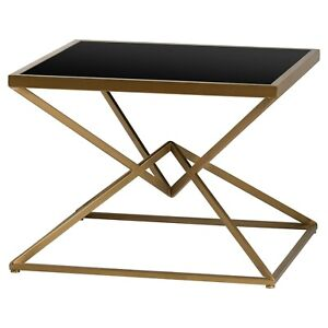 Contemporary Style Antique Bronze Black Metal Square Display Side End Table