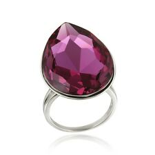 Swarovski Elements Fuchsia Teardrop Fashion Ring Size 9