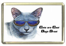 Cartoon Russian Blue Cat Fridge Magnet - Cats are Cool, Dogs Drool