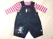Size 0-3 Month Disney Mickey Mouse 2 Piece Holiday Black Overall Set Shirt Red