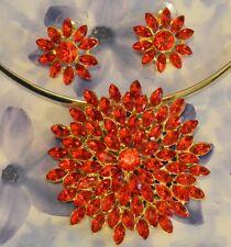 Dolly-Bijoux Fantaisie Parure 2en1 Grand Soleil de Diamant Cz Rouge Rubis 6.5cm