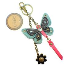 Chala Teal Butterfly Key Chain Purse Leather Bag Fob Charm New