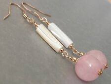 Beautiful Round Rose Quartz Gemstones & MOP Tubes 14ct Rolled Gold Earrings