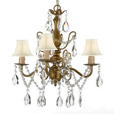 Wrought Iron & Crystal Gold Chandelier Pendant with Shades Hardwire & Plug In