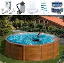 ARCANA Pool-Set FEELING Rundbecken 300 x 120 Holzoptik Sandfilter Schwimmbecken