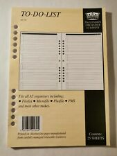 A5 to do list inserts for filofax, Mulberry, etc 50 pages A5 personal organisers