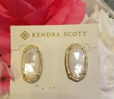 Kendra Scott Rare Mother of Pearl Elsie Stud Luxe Earrings In Gold.  HTF EUC