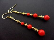 A PAIR RED CORAL BEAD GOLD TONE EXTRA LONG DANGLY EARRINGS. NEW.