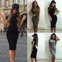 Women Short Sleeve Bodycon Casual Lady Party Evening Cocktail Mini Dress HQ