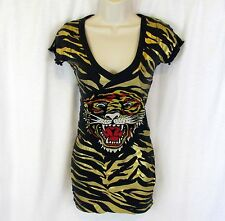 Ed Hardy Extra Small womens long skinny top shirt Studded Tiger Gold bengal XS