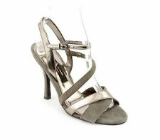 NWOB Nina Strappy Gray Faux Leather Platform Heels Pumps Shoes 9.5 M (S197)