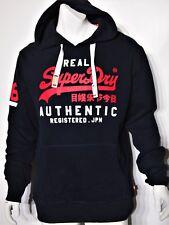 Superdry large vintage logo men's fleece hoodie size xxl dark navy blue