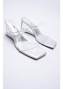 Zara Metallic Wedge Sandals Size 6 Brand New