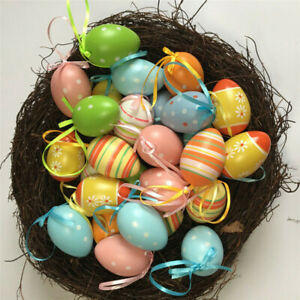 12Pcs/Set Easter Hanging Egg Decorations Colorful Easter DIY Printed Eggs Decor