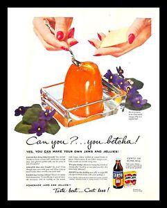 1952 Certo Fruit Pectin Vintage PRINT AD Jams Orange Jelly Food Crystal Box 50s