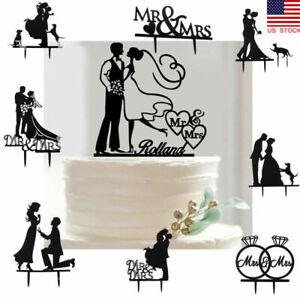 US Acrylic Engagement Cake Topper Wedding Party Mr & Mrs Bride Groom Decoration
