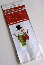 "Happy Snowman Treat Bags W/Twist Ties 4"" x 2"" x 9.5"""