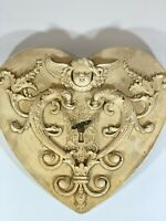 Vintage 1987 Signed Hayes Parker Cherub Heart Stone Sculpture With Key Faroy Inc