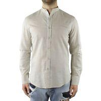 Camicia Uomo Collo Coreana Cotone Beige Casual Slim FIt Manica Lunga Effetto Lin
