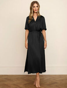 Marks & Spencer Rosie Black Carbon Satin & Lace Long Nightdress Size 10 12 18 BN