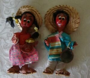 Pair of Mexican folk dolls paper mache painted REAL FINE CONDITION