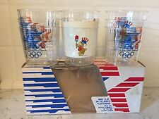 1984 OLYMPICS SOUVENIR Cups New Old Stock Clear Rocks 9 Oz Made In USA