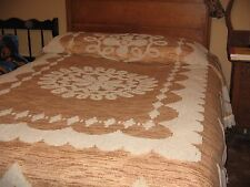 VINTAGE (MCM) 60'S CHENILLE BEDSPREAD-SYNTHETIC-GOLDEN BROWN-FULL SIZE-RETRO MOD