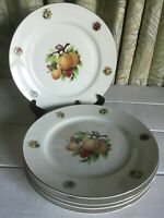 "5 Formalities Baum Brothers Porcelain Dinner Plate 10-1/2"" EUC Fruit Gold Trim"