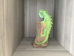 Green Iguana Figurine on Tree Branch