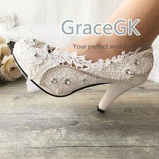 women Wedding Shoes Gems Bridal Bridemaid Flat High Low Kitten Heels