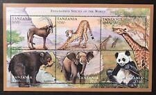 TANZANIA ENDANGERED SPECIES STAMP SHEET 6V 1998 MNH PANDA WILD ANIMALS WILDLIFE