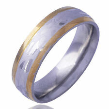 Vintage Band Yellow Gold Plated White stainless steel Stripe Ring Size 10