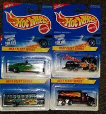 1997, Hot Wheels Heat Fleet Series Complete Set of 4 Wrecker Peterbilt BUS. (14C