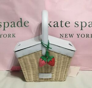 🍓 NWT Kate Spade Picnic In The Park Basket Strawberry Satchel Crossbody $399 🍓