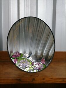 Beautiful Vintage Stained Glass Oval Mirror.