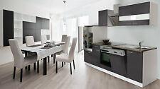 respekta Einbau Küche Küchenzeile Küchenblock 280 cm Weiß Front Grau Ceranfeld