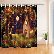 Easter House With Decor Bathroom Shower Curtain Fabric w/12 Hooks 71*71inch