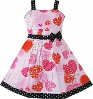 Girls Pink Heart Print Bow Tie Party Dress Kids Age 4 5 6 6X 7 8 9 10 11 12