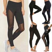 Women Yoga Pants Mesh High Waist Fitness Stretch Leggings Pockets Sports Trouser